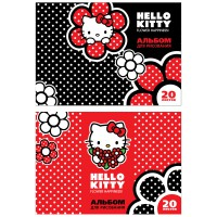 Альбом для рисования ACTION! HELLO KITTY, 20 л., на склейке, выб.уф-лак, 2 дизайна