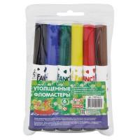 Набор утолщенных фломастеров FANCY, 6 цветов, PVC, 2 диз.