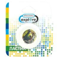 Ластик ACTION! Discovery круглый, белый с цветной печатью, 4 вида, блистер с европодвесом