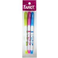 Набор шариковых ручек FANCY, белый пластиковый корпус, синие чернила, 3 штуки|2