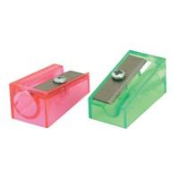 Точилка пластмассовая FANCY, клиновидная форма, прозрачная 1