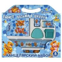 Набор канцелярский FANCY, 8 предметов, в картонной упаковке, ассорти 4 цвета