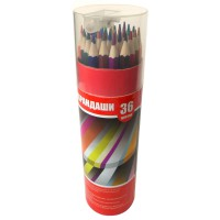 Набор карандашей 36цв., картонный тубус с точилкой