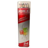Набор карандашей 24цв., металлический тубус