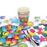 Набор для праздника СМАЙЛИК, в наборе: 6 тарелок, 6 чашек, 6 салфеток, скатерть 130см*180см