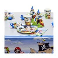 Набор для праздника ПИРАТЫ, в наборе: 6 тарелок, 6 чашек, 6 салфеток, скатерть 130см*180см, 6 языч