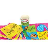 Набор для праздника С ДНЕМ РОЖДЕНИЯ!, в наборе: 6 тарелок, 6 чашек, 6 салфеток, скатерть 130см*180