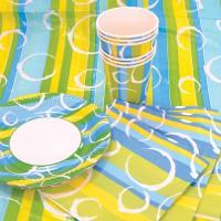 Набор для праздника РАДОСТЬ, в наборе: 6 тарелок, 6 чашек, 6 салфеток, скатерть 130см*180см.