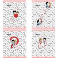 Тетрадь ACTION! LOVE IS, мелованный картон, уф-лак, клетка, ф. А5, 96 л., 4 дизайна