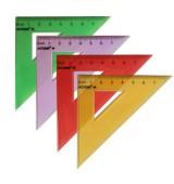 Треугольник 45*, длина 7 см,флюоресцентный,прозрачный,пластиковый,4цв,в инд.пакете с европодвесом
